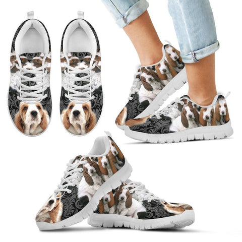 Basset Hound On Black-Kid's Running Shoes-Free Shipping