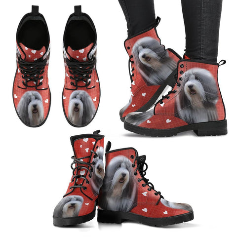 Valentine's Day Special-Bearded Collie Red Print Boots For Women-Free Shipping