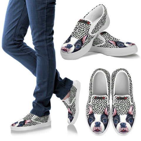 Cute Boston Terrier Print Slip Ons For Women-Free Shipping