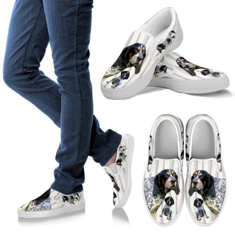 Bluetick Coonhound Print Slip Ons For Women-Express Shipping