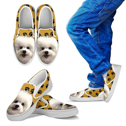 Bichon Frise Dog Print Slip Ons For Kids-Express Shipping