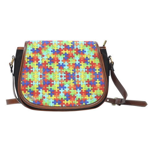 Autism Symbol Canvas/Leather Trim Saddle Bag- Free Shipping