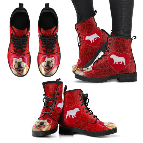 Valentine's Day Special- Bulldog On Red Print Boots For Women-Free Shipping