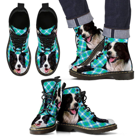 Border Collie Print Boots For Men-Express Shipping