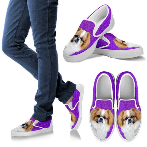 Pekingese Dog Print Slip Ons For Women-Express Shipping