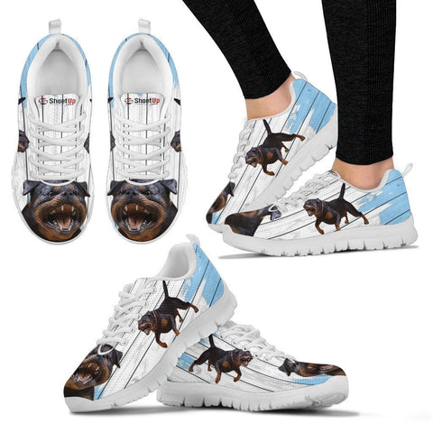 Rottweiler Blue White Print Sneakers For Women-Free Shipping