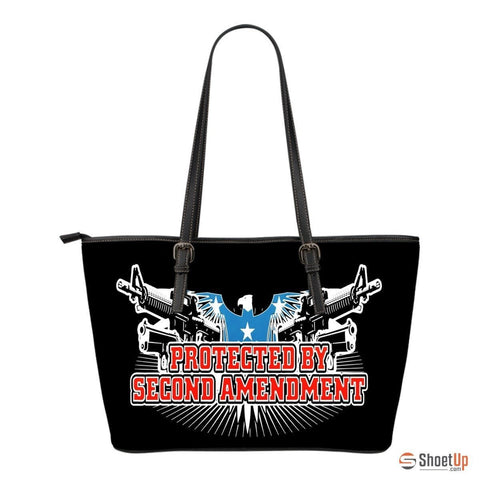 Protected By Second Amendment-Small Leather Tote Bag-Free Shipping