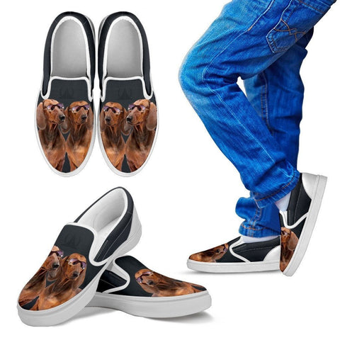 Dachshund Dog Print Slip Ons For Kids-Express Shipping