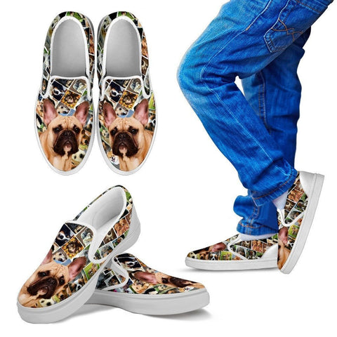 Amazing French Bulldog Print Slip Ons For Kids-Express Shipping