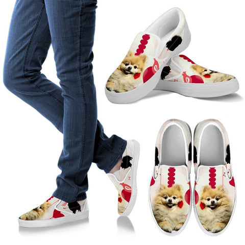 Valentine's Day Special Pomeranian Dog Print Slip Ons For Women- Free Shipping