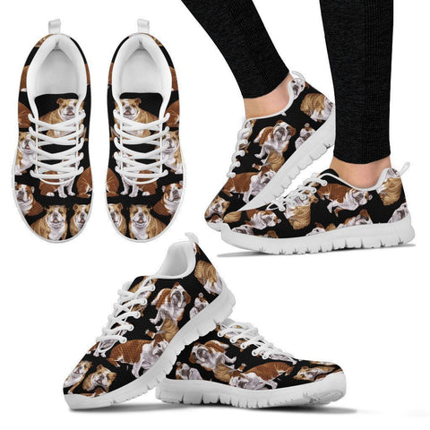 Bulldog Pattern Print Sneakers For Women- Express Shipping