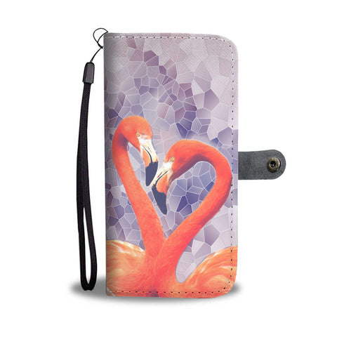 Lovely Flamingo Bird Print Wallet Case-Free Shipping