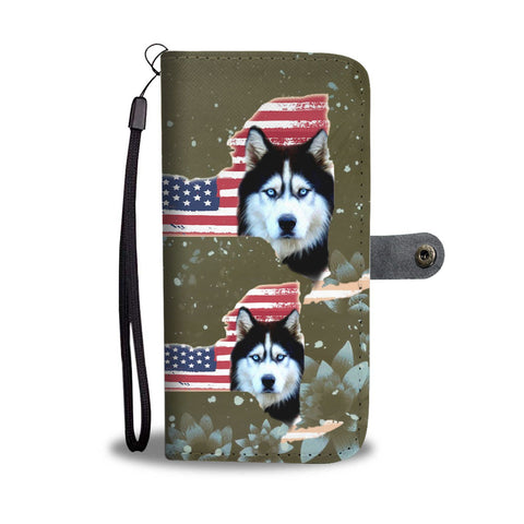 Siberian Husky Dog Print Wallet Case-Free Shipping-NY State