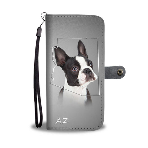 Cute Boston Terrier Print Wallet Case- Free Shipping- AZ State