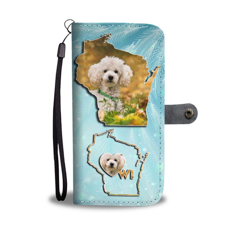 Cute Poodle Dog Print Wallet Case-Free Shipping-WI State