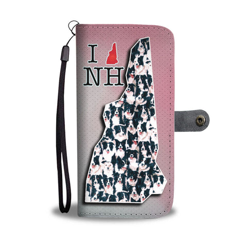 Border Collie In Lots Print Wallet Case-Free Shipping-NH State