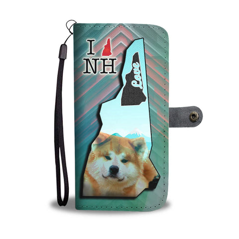Cute Akita Print Wallet Case-Free Shipping-NH State
