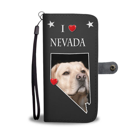 Labrador Retriever On Black Print Wallet Case-Free Shipping-NV State