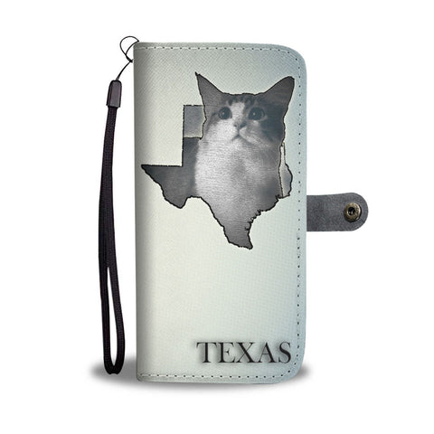 Cute Munchkin Cat Print Wallet Case-Free Shipping-TX State