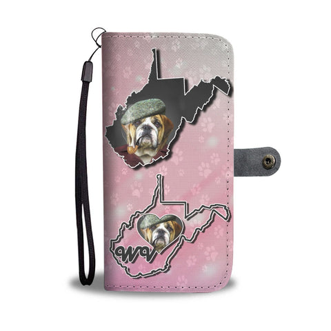 Bulldog With Cap Print Wallet Case-Free Shipping-WV State