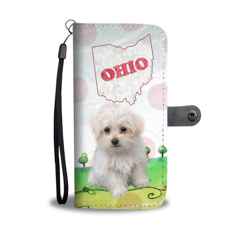 Cute Maltese Dog Print Wallet Case-Free Shipping-OH State