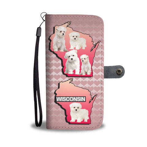 Cute Maltese Dog On Pink Print Wallet Case-Free Shipping-WI State
