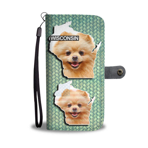Cute Pomeranian Dog Print Wallet Case-Free Shipping-WI State