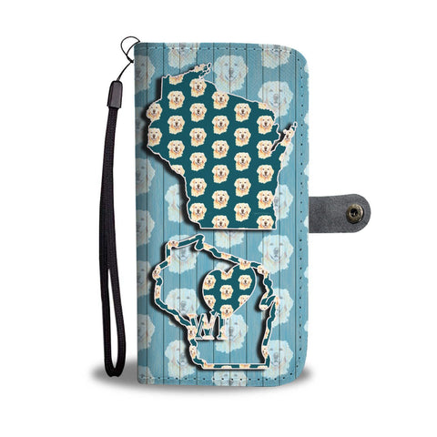 Golden Retriever Dog Pattern Print Wallet Case-Free Shipping-WI State