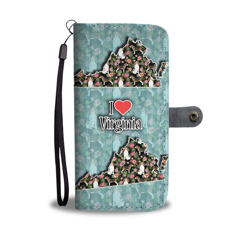 Beagle Dog Floral Print Wallet Case-Free Shipping-VA State