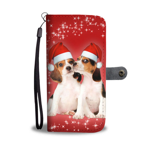 Cute Beagle Christmas Print Wallet Case-Free Shipping