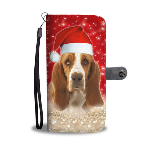 Basset Hound On Christmas Print Wallet Case-Free Shipping