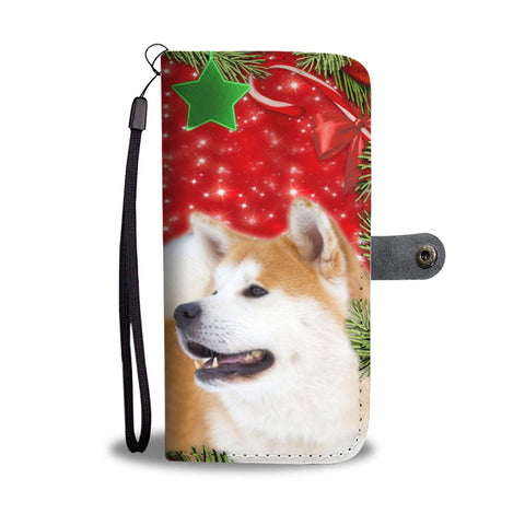 Akita Inu Dog On Christmas Print Wallet Case-Free Shipping