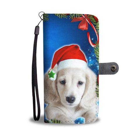 Cute Dachshund Dog On Christmas Print Wallet Case-Free Shipping