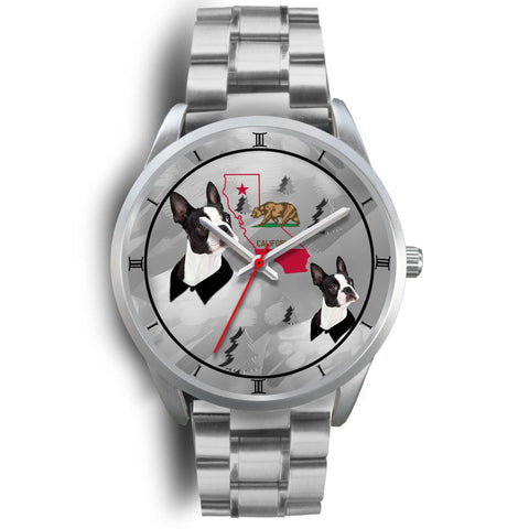 Boston Terrier California Christmas Special Silver Wrist Watch-Free Shipping