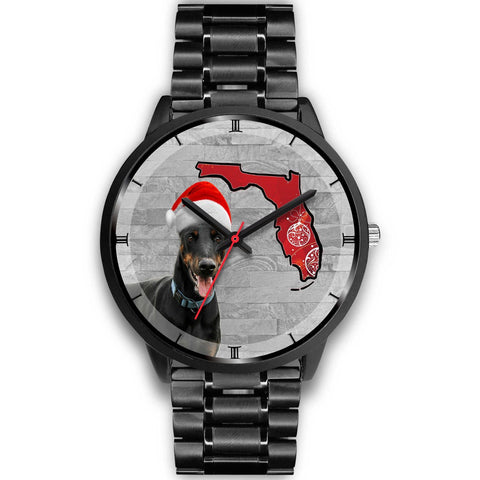 Dobermann On Christmas Florida Wrist Watch-Free Shipping
