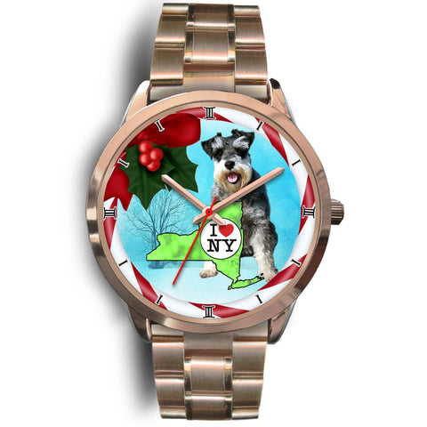 Miniature Schnauzer Dog New York Christmas Special Wrist Watch-Free Shipping