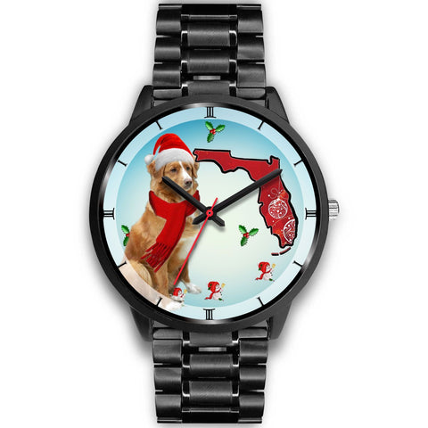 Nova Scotia Duck Tolling Retriever On Christmas Florida Wrist Watch-Free Shipping
