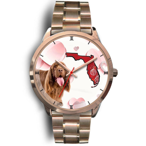 Sussex Spaniel On Christmas Florida Golden Wrist Watch-Free Shipping