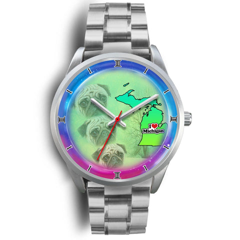 Pug Dog Michigan Christmas Special Wrist Watch-Free Shipping