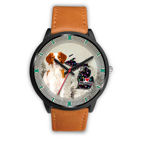 Brittany Dog Christmas Michigan Christmas Special Wrist Watch-Free Shipping