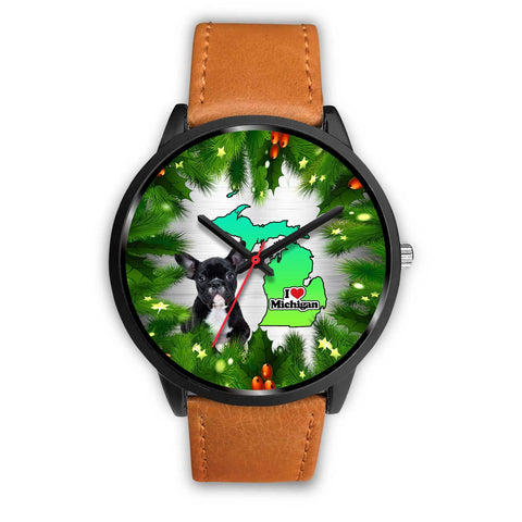 French Bulldog Michigan Christmas Special Wrist Watch-Free Shipping