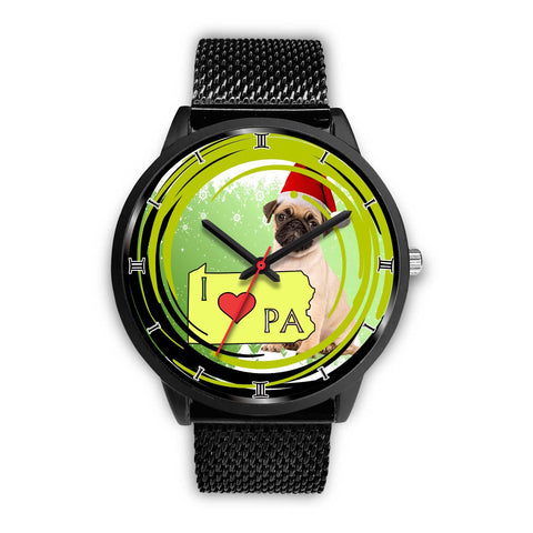 Pug Dog Pennsylvania Christmas Special Wrist Watch-Free Shipping
