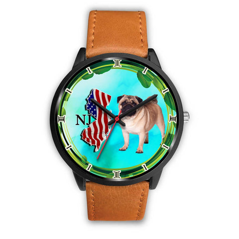 Cheerful Pug Dog New Jersey Christmas Special Wrist Watch-Free Shipping