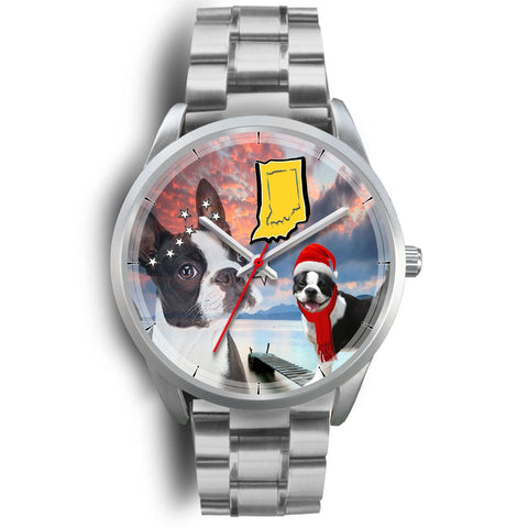 Boston Terrier Indiana Christmas Special Wrist Watch-Free Shipping