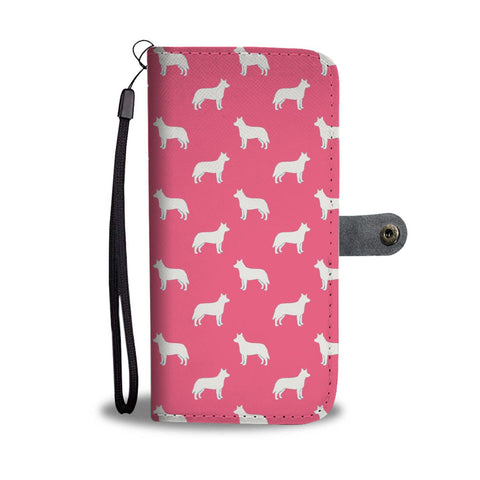 Australian Cattle Dog Pattern Print Pink Wallet Case-Free Shipping