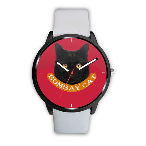 Bombay cat Print On Red Wrist Watch-Free Shipping