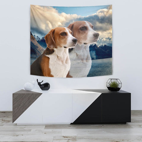 Lovely English Foxhound Print Tapestry-Free Shipping