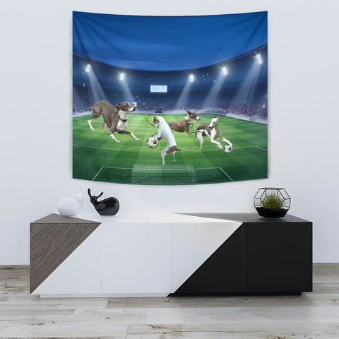 Italian Greyhound Playing football Print Tapestry-Free Shipping