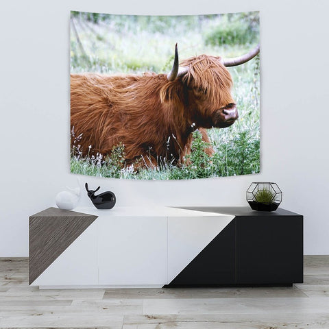 Amazing Highland Cattle (Cow) Print Tapestry-Free Shipping
