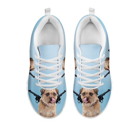 Amazing Two Guns With Border Terrier Print Running Shoes For Women-Free Shipping-For 24 Hours Only